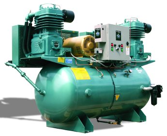 Large Facility Compressor 20 User 2x5HP 230x460v w/ Dryer 120Gal